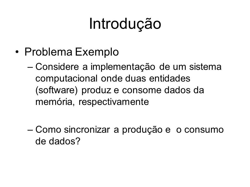 Introdução Problema Exemplo –Considere a implementação de um sistema computacional onde duas entidades (software) produz e consome dados da memória, respectivamente –Como sincronizar a produção e o consumo de dados?