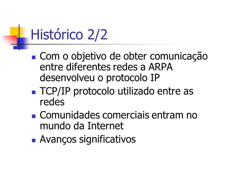 Histórico 2/2 Com o objetivo de obter comunicação entre diferentes redes a ARPA desenvolveu o protocolo IP TCP/IP protocolo utilizado entre as redes C