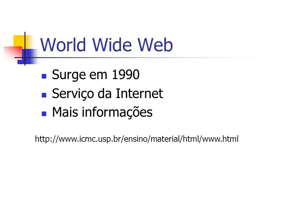 World Wide Web Surge em 1990 Serviço da Internet Mais informações http://www.icmc.usp.br/ensino/material/html/www.html