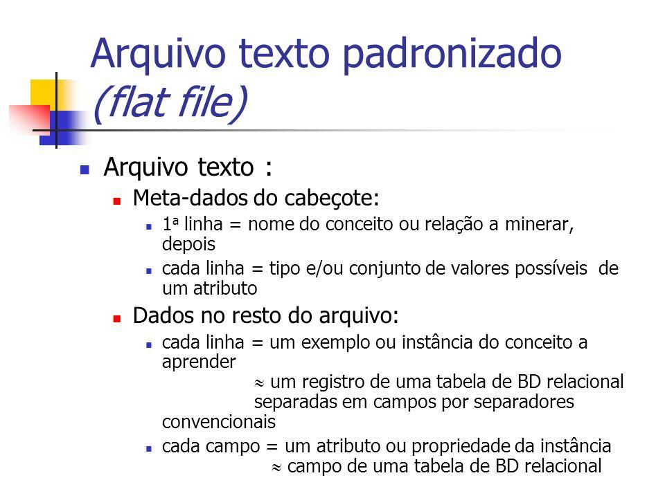 Arquivo texto padronizado (flat file) Arquivo texto : Meta-dados do cabeçote: 1 a linha = nome do conceito ou relação a minerar, depois cada linha = t