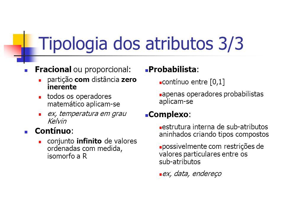 Tipologia dos atributos 3/3 Fracional ou proporcional: partição com distância zero inerente todos os operadores matemático aplicam-se ex, temperatura