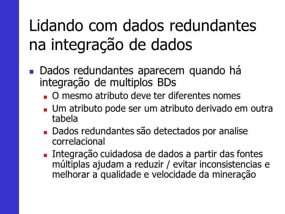 Lidando com dados redundantes na integração de dados Dados redundantes aparecem quando há integração de multiplos BDs O mesmo atributo deve ter difere