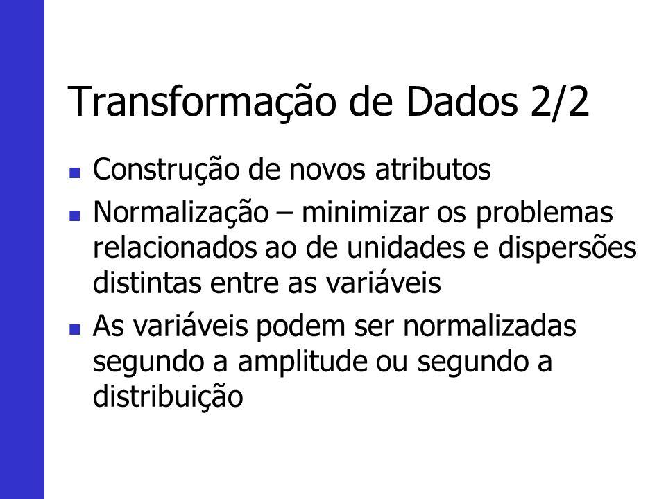 Transformação de Dados 2/2 Construção de novos atributos Normalização – minimizar os problemas relacionados ao de unidades e dispersões distintas entr