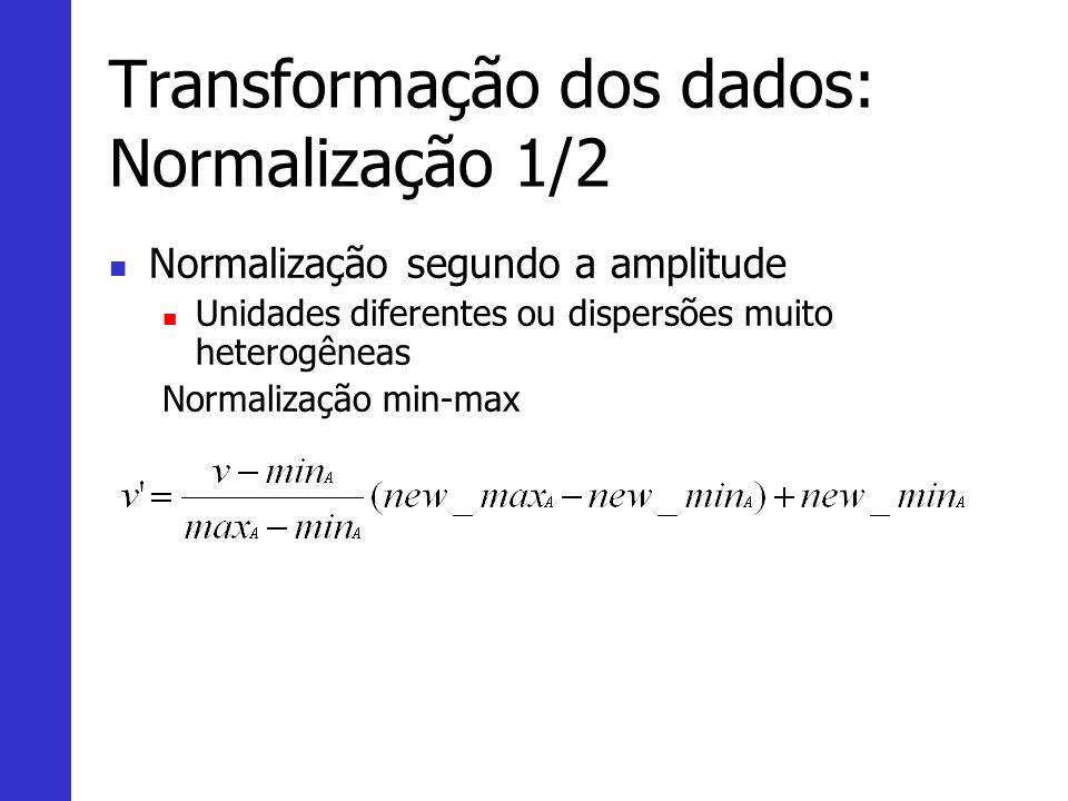 Transformação dos dados: Normalização 1/2 Normalização segundo a amplitude Unidades diferentes ou dispersões muito heterogêneas Normalização min-max