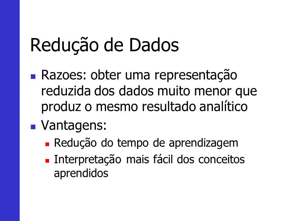 Redução de Dados Razoes: obter uma representação reduzida dos dados muito menor que produz o mesmo resultado analítico Vantagens: Redução do tempo de