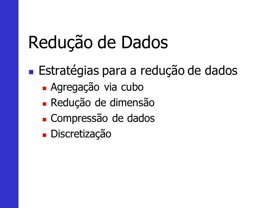 Redução de Dados Estratégias para a redução de dados Agregação via cubo Redução de dimensão Compressão de dados Discretização