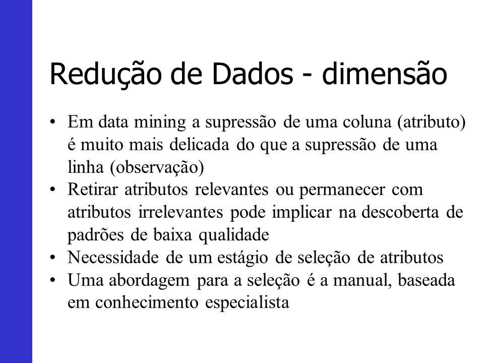 Redução de Dados - dimensão Em data mining a supressão de uma coluna (atributo) é muito mais delicada do que a supressão de uma linha (observação) Ret