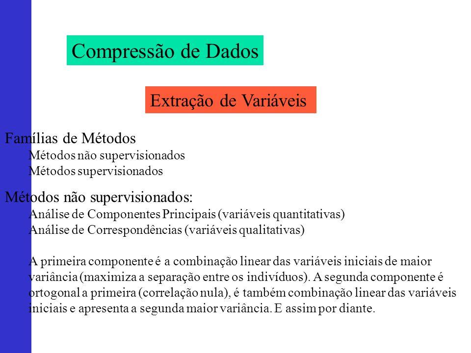 Compressão de Dados Extração de Variáveis Métodos não supervisionados: Análise de Componentes Principais (variáveis quantitativas) Análise de Correspo