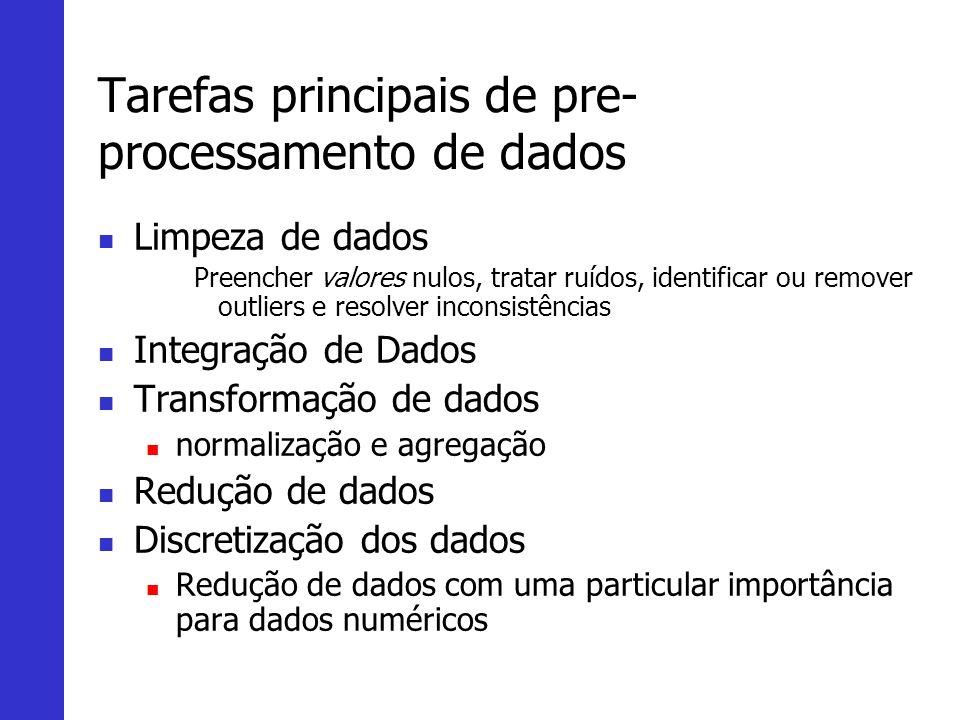 Tarefas principais de pre- processamento de dados Limpeza de dados Preencher valores nulos, tratar ruídos, identificar ou remover outliers e resolver