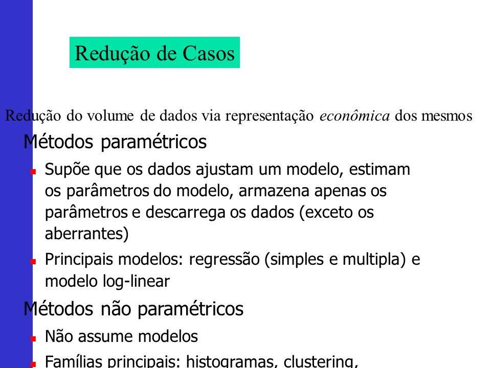 Redução de Casos Redução do volume de dados via representação econômica dos mesmos Métodos paramétricos Supõe que os dados ajustam um modelo, estimam