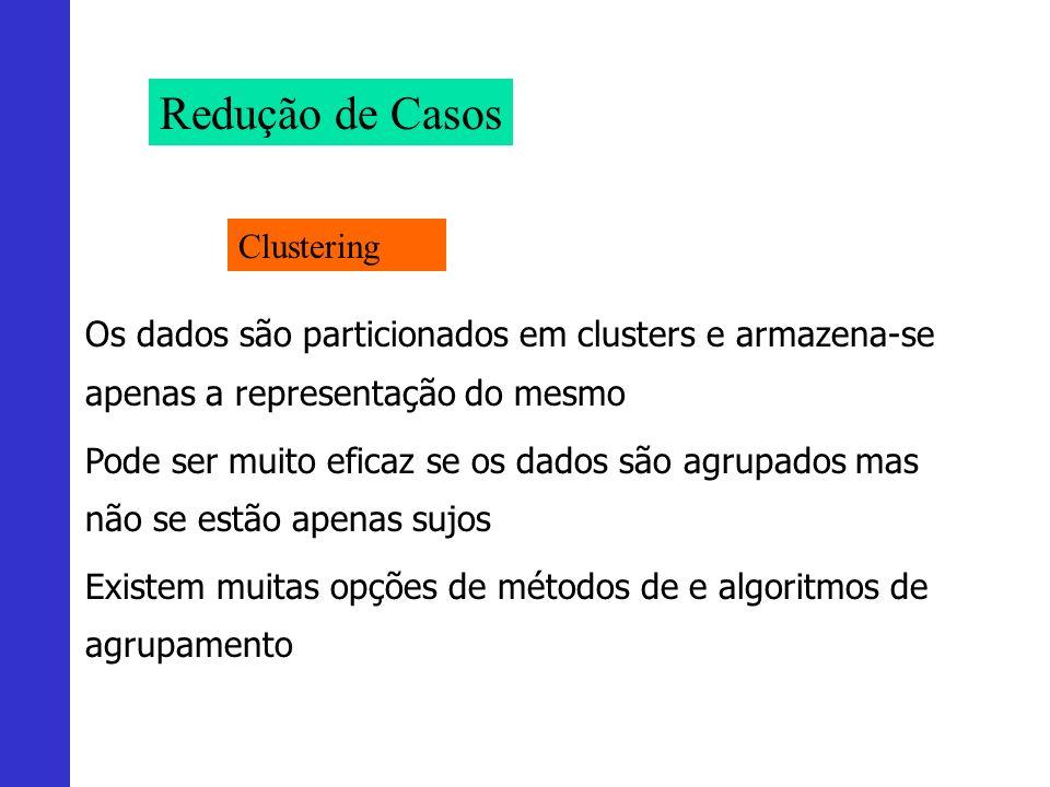 Redução de Casos Clustering Os dados são particionados em clusters e armazena-se apenas a representação do mesmo Pode ser muito eficaz se os dados são