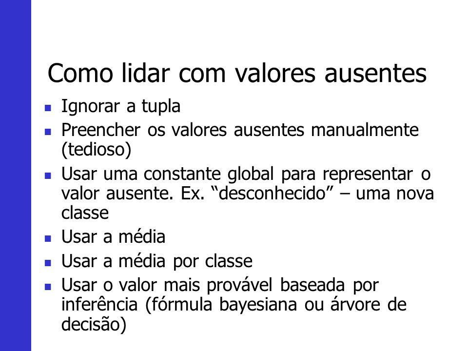 Como lidar com valores ausentes Ignorar a tupla Preencher os valores ausentes manualmente (tedioso) Usar uma constante global para representar o valor