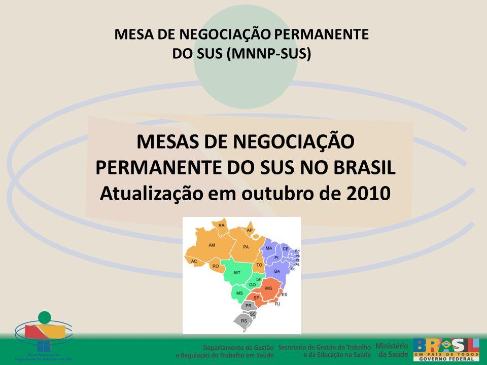 MESAS DE NEGOCIAÇÃO PERMANENTE DO SUS NO BRASIL Atualização em outubro de 2010 MESA DE NEGOCIAÇÃO PERMANENTE DO SUS (MNNP-SUS)