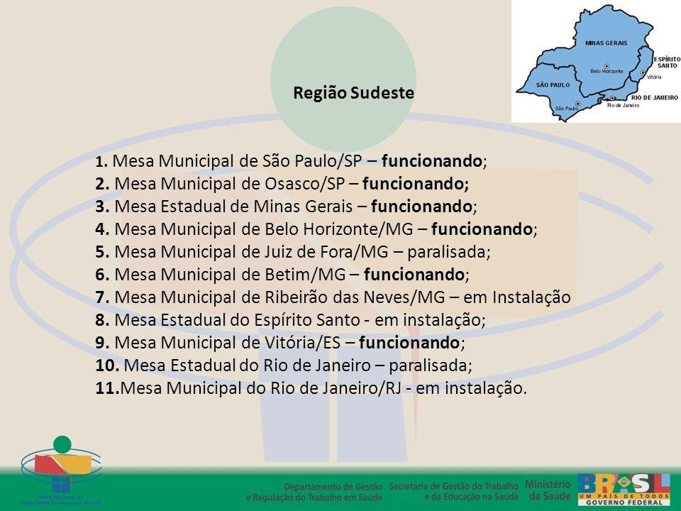Região Sudeste 1. Mesa Municipal de São Paulo/SP – funcionando; 2. Mesa Municipal de Osasco/SP – funcionando; 3. Mesa Estadual de Minas Gerais – funci