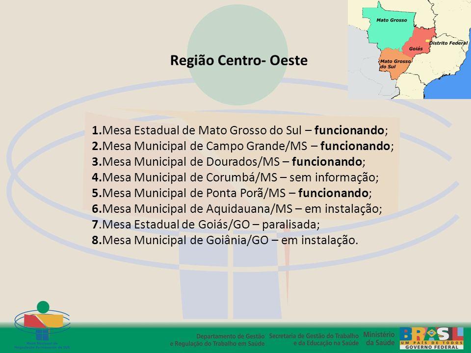Região Centro- Oeste 1.Mesa Estadual de Mato Grosso do Sul – funcionando; 2.Mesa Municipal de Campo Grande/MS – funcionando; 3.Mesa Municipal de Doura