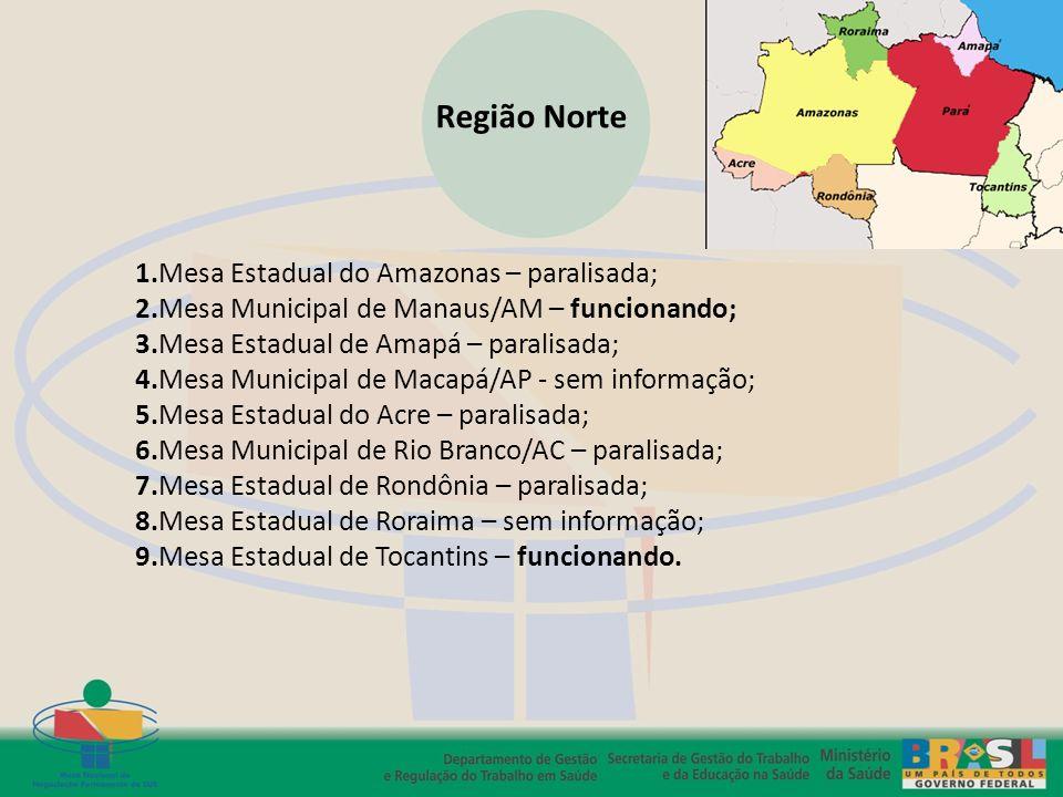 Região Norte 1.Mesa Estadual do Amazonas – paralisada; 2.Mesa Municipal de Manaus/AM – funcionando; 3.Mesa Estadual de Amapá – paralisada; 4.Mesa Muni