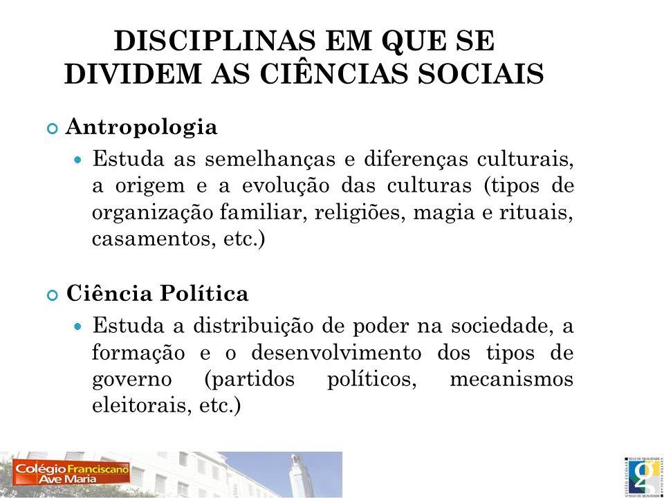 DISCIPLINAS EM QUE SE DIVIDEM AS CIÊNCIAS SOCIAIS Antropologia Estuda as semelhanças e diferenças culturais, a origem e a evolução das culturas (tipos