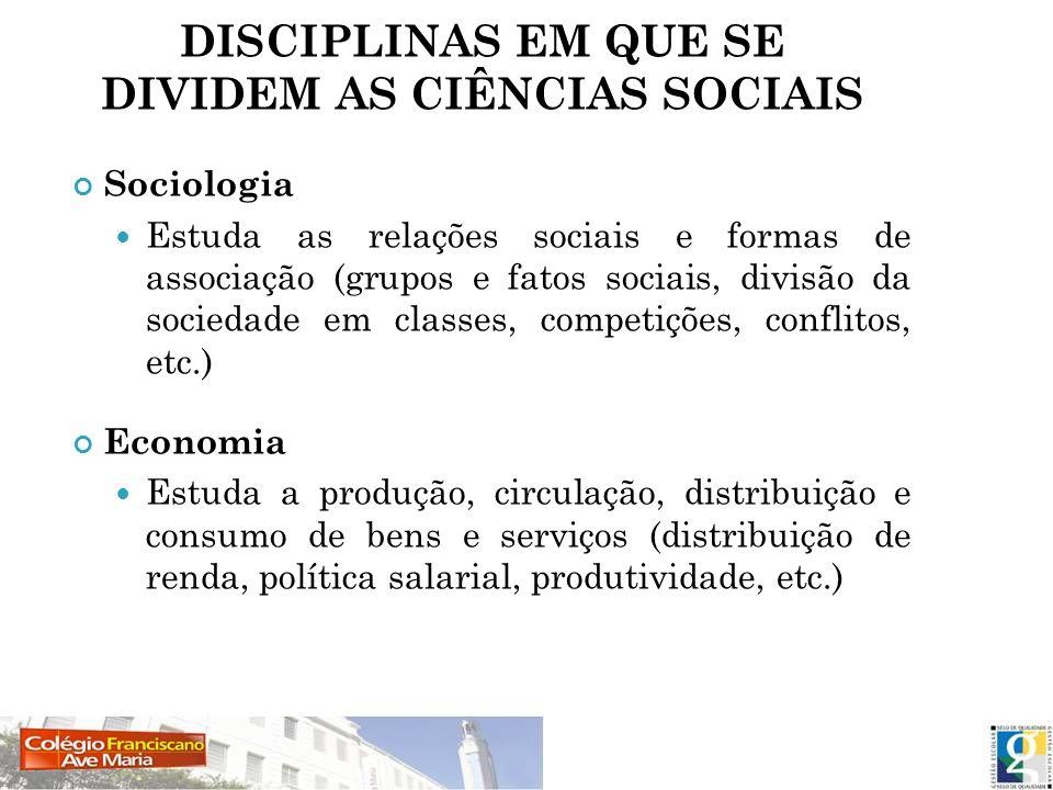 DISCIPLINAS EM QUE SE DIVIDEM AS CIÊNCIAS SOCIAIS Sociologia Estuda as relações sociais e formas de associação (grupos e fatos sociais, divisão da soc