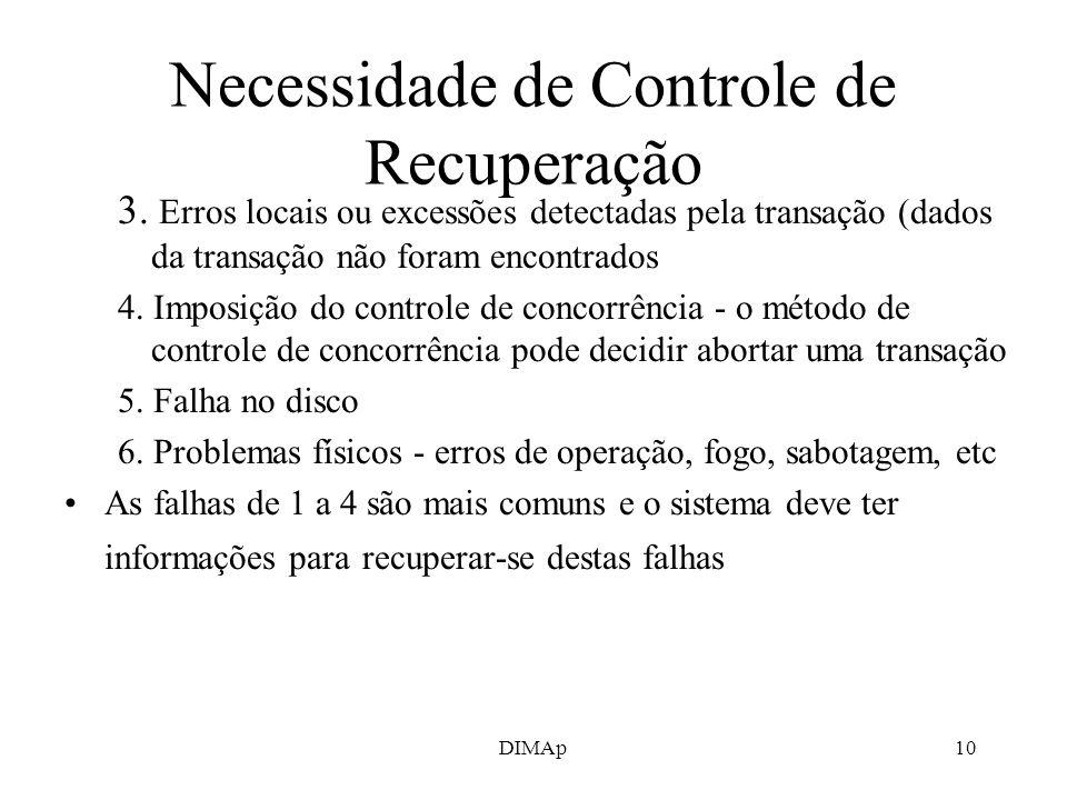 DIMAp10 Necessidade de Controle de Recuperação 3. Erros locais ou excessões detectadas pela transação (dados da transação não foram encontrados 4. Imp