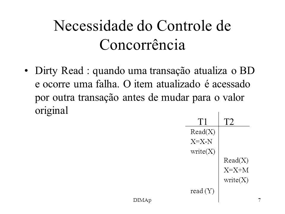 DIMAp7 Necessidade do Controle de Concorrência Dirty Read : quando uma transação atualiza o BD e ocorre uma falha. O item atualizado é acessado por ou