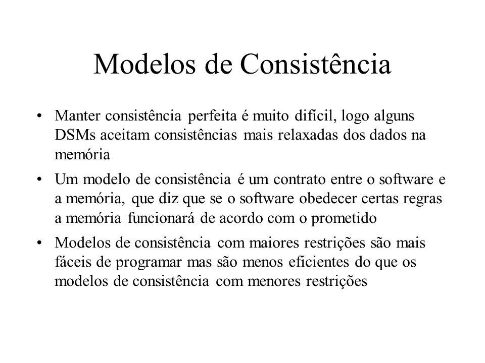 Modelos de Consistência Manter consistência perfeita é muito difícil, logo alguns DSMs aceitam consistências mais relaxadas dos dados na memória Um mo
