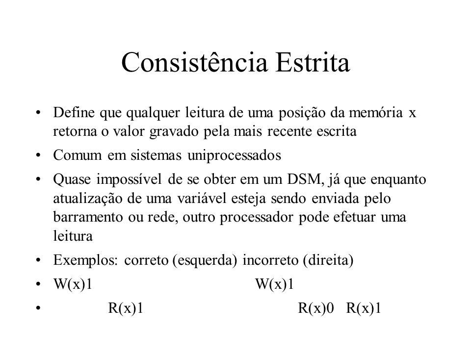 Consistência Estrita Define que qualquer leitura de uma posição da memória x retorna o valor gravado pela mais recente escrita Comum em sistemas unipr