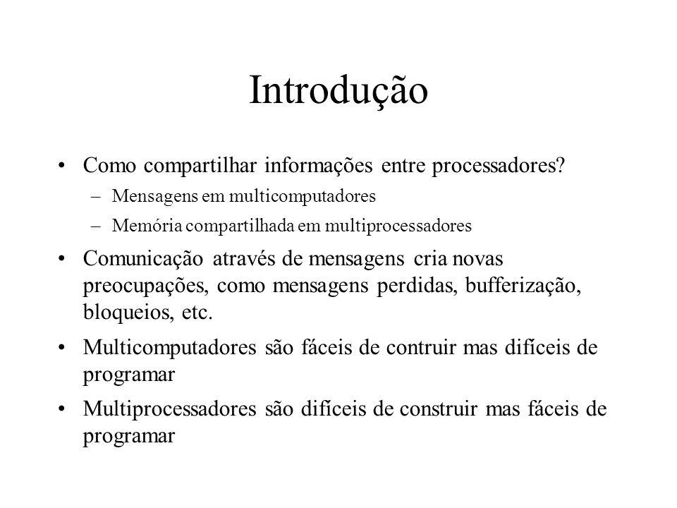 Introdução Como compartilhar informações entre processadores? –Mensagens em multicomputadores –Memória compartilhada em multiprocessadores Comunicação