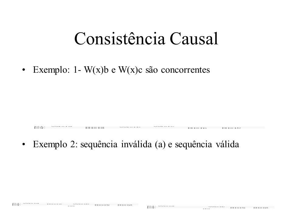 Consistência Causal Exemplo: 1- W(x)b e W(x)c são concorrentes Exemplo 2: sequência inválida (a) e sequência válida