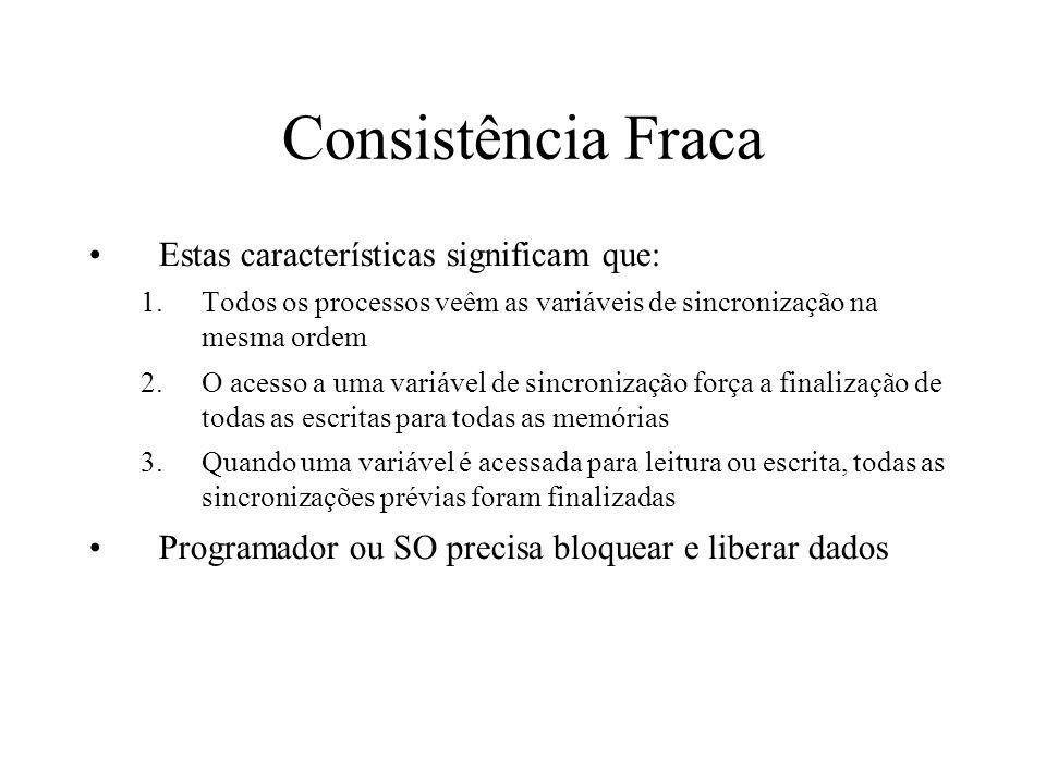 Consistência Fraca Estas características significam que: 1.Todos os processos veêm as variáveis de sincronização na mesma ordem 2.O acesso a uma variá