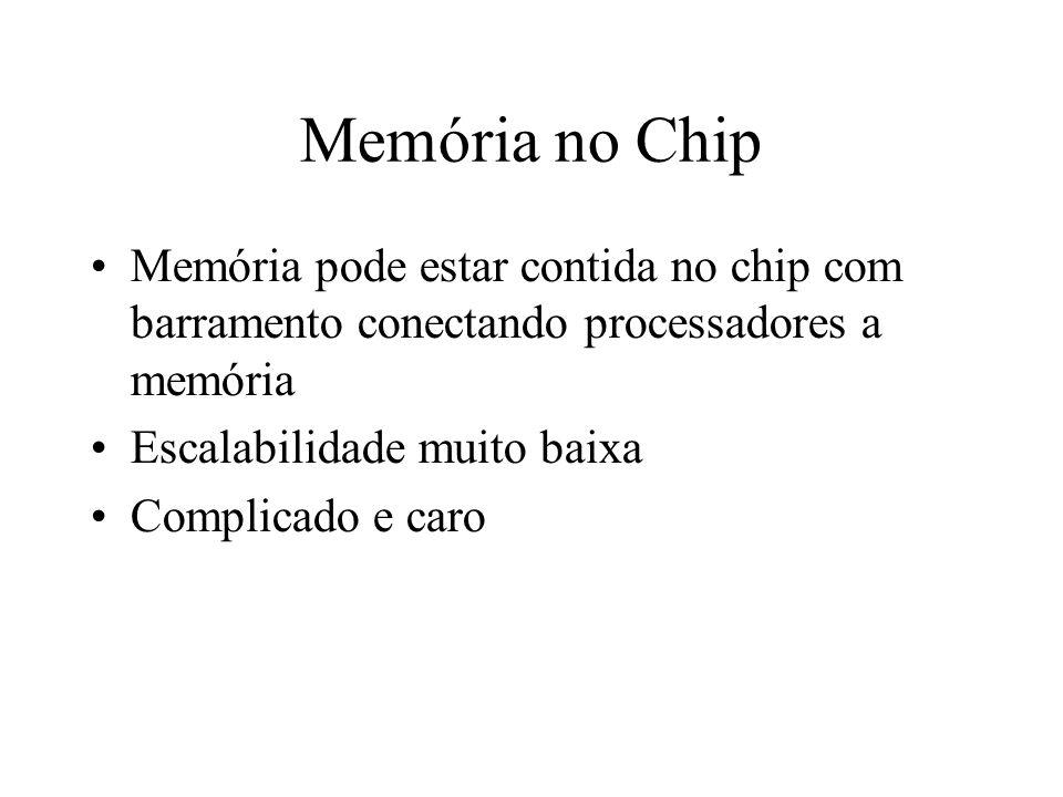 Memória no Chip Memória pode estar contida no chip com barramento conectando processadores a memória Escalabilidade muito baixa Complicado e caro