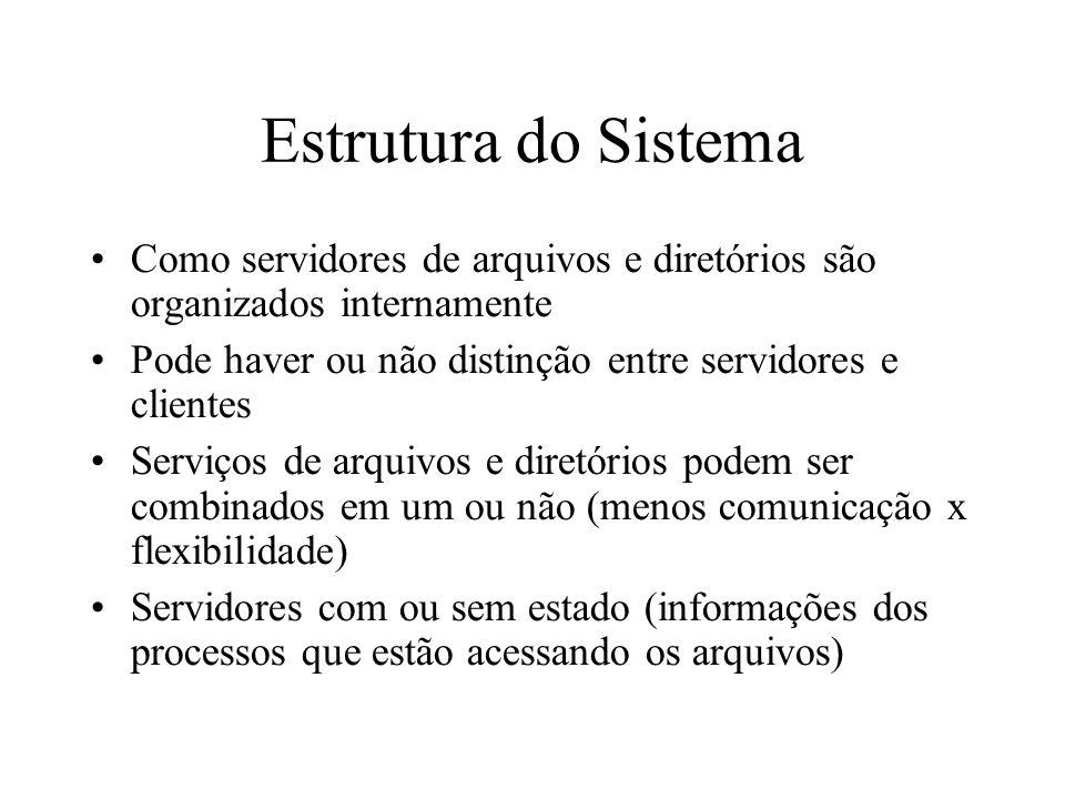 Estrutura do Sistema Como servidores de arquivos e diretórios são organizados internamente Pode haver ou não distinção entre servidores e clientes Ser