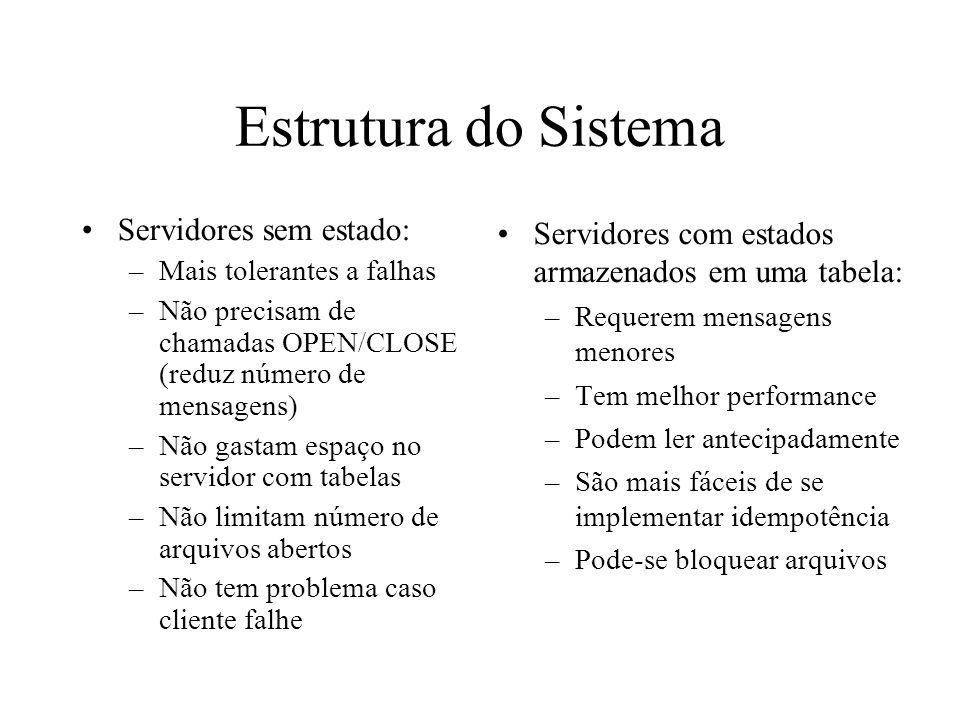Estrutura do Sistema Servidores sem estado: –Mais tolerantes a falhas –Não precisam de chamadas OPEN/CLOSE (reduz número de mensagens) –Não gastam esp
