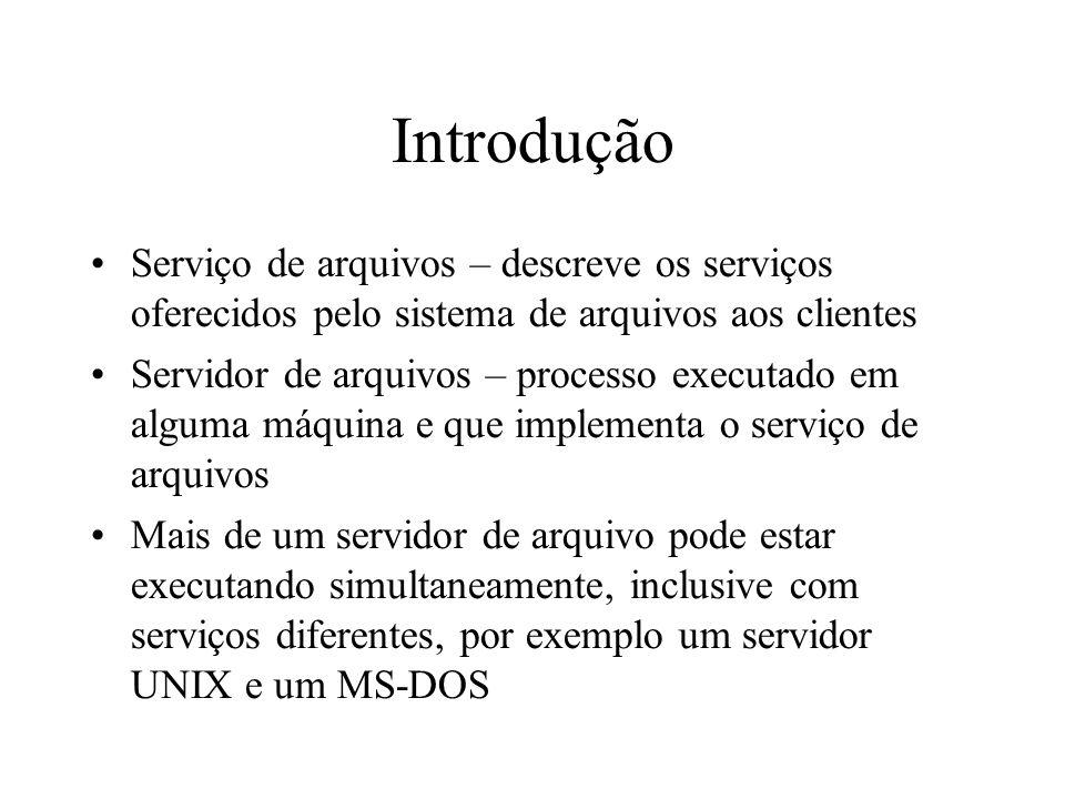 Introdução Serviço de arquivos – descreve os serviços oferecidos pelo sistema de arquivos aos clientes Servidor de arquivos – processo executado em al