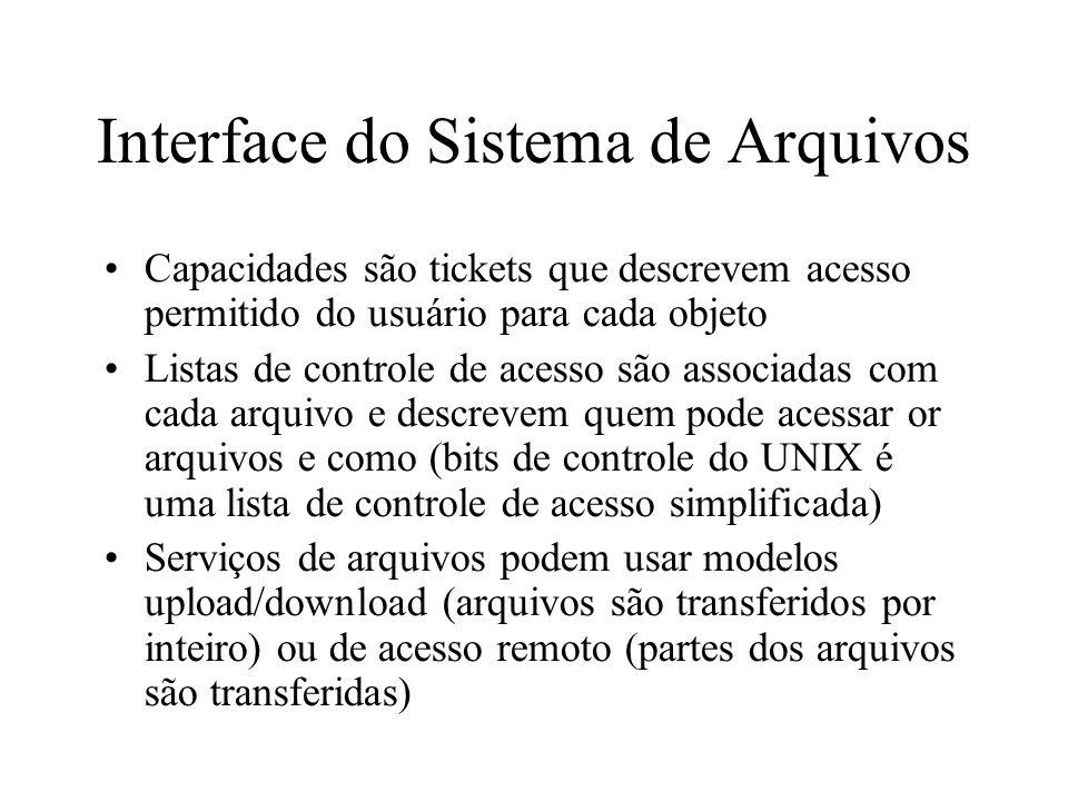Interface do Sistema de Arquivos Capacidades são tickets que descrevem acesso permitido do usuário para cada objeto Listas de controle de acesso são a