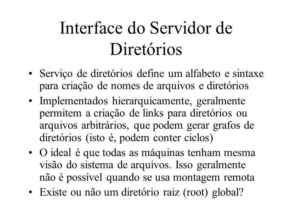 Interface do Servidor de Diretórios Serviço de diretórios define um alfabeto e sintaxe para criação de nomes de arquivos e diretórios Implementados hi