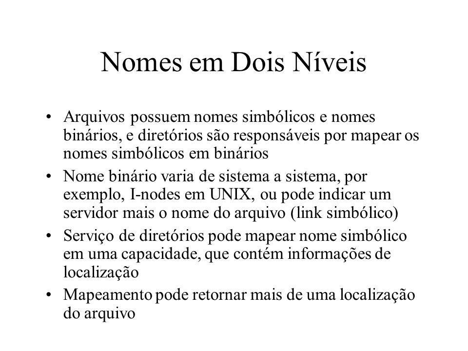Nomes em Dois Níveis Arquivos possuem nomes simbólicos e nomes binários, e diretórios são responsáveis por mapear os nomes simbólicos em binários Nome