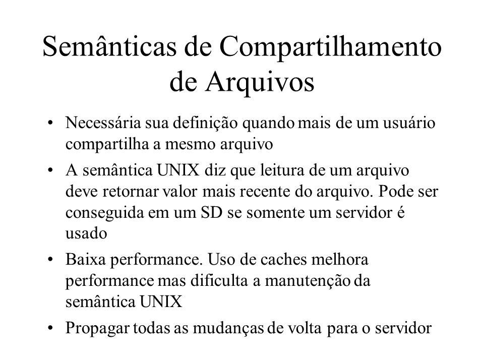 Semânticas de Compartilhamento de Arquivos Necessária sua definição quando mais de um usuário compartilha a mesmo arquivo A semântica UNIX diz que lei