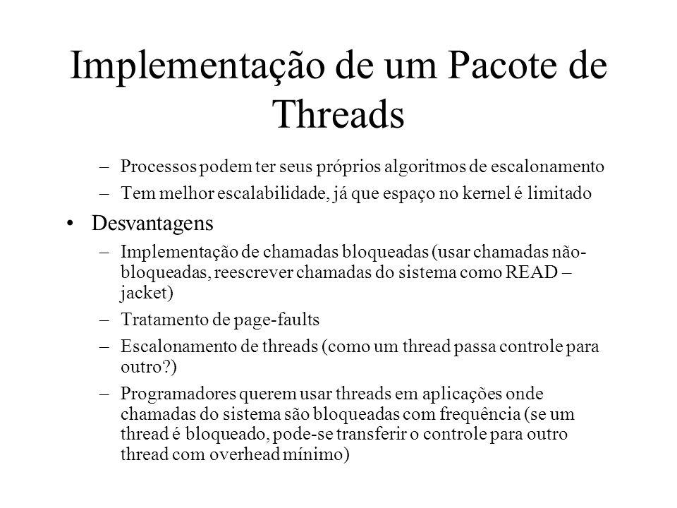 Implementação de um Pacote de Threads –Processos podem ter seus próprios algoritmos de escalonamento –Tem melhor escalabilidade, já que espaço no kern