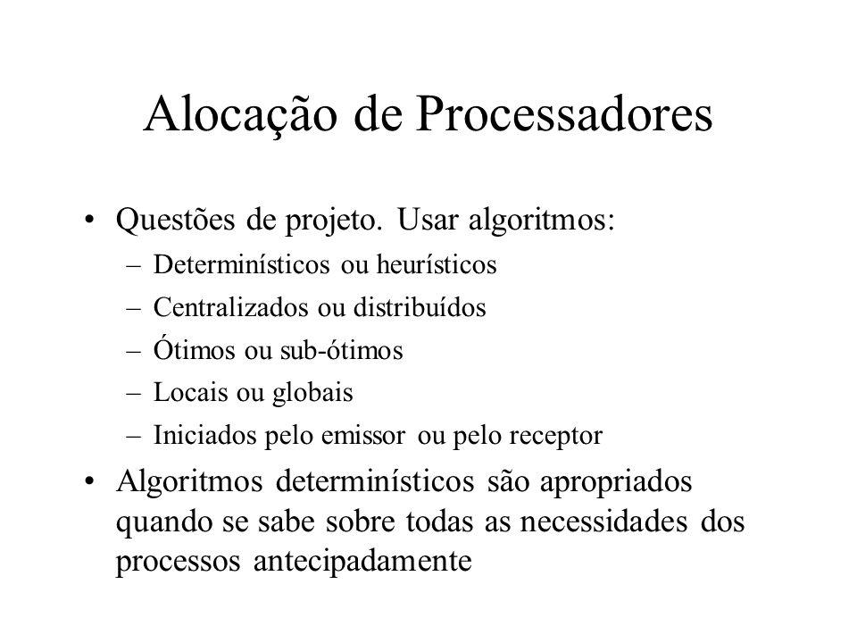 Alocação de Processadores Questões de projeto. Usar algoritmos: –Determinísticos ou heurísticos –Centralizados ou distribuídos –Ótimos ou sub-ótimos –
