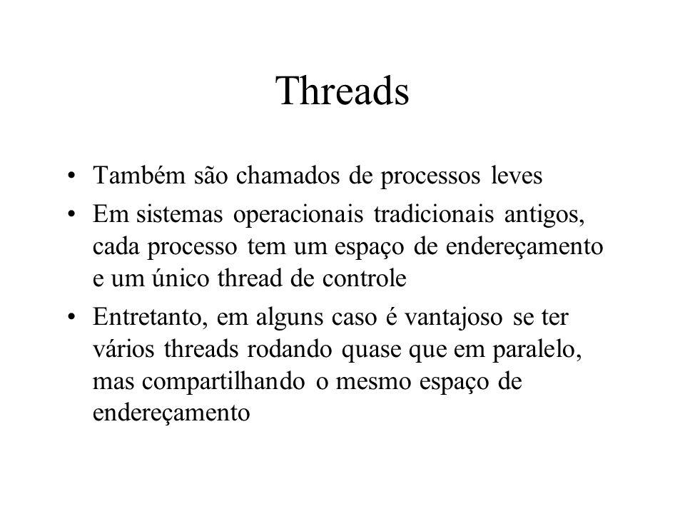 Threads Também são chamados de processos leves Em sistemas operacionais tradicionais antigos, cada processo tem um espaço de endereçamento e um único