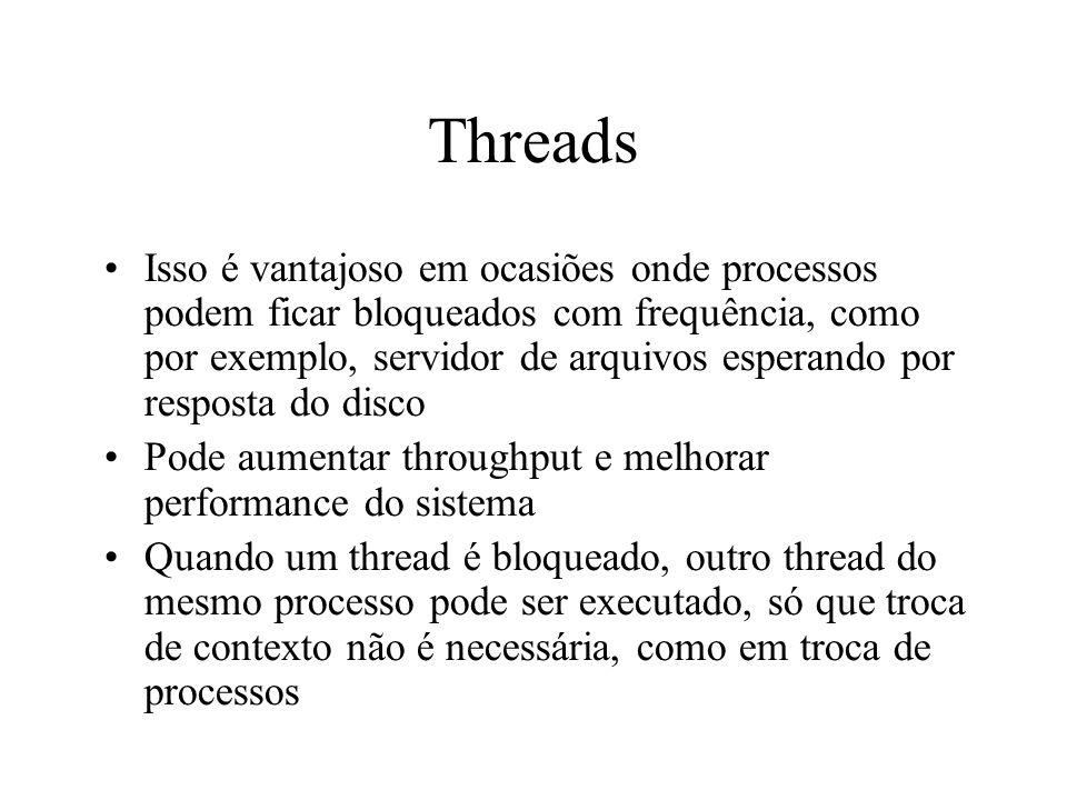 Threads Isso é vantajoso em ocasiões onde processos podem ficar bloqueados com frequência, como por exemplo, servidor de arquivos esperando por respos