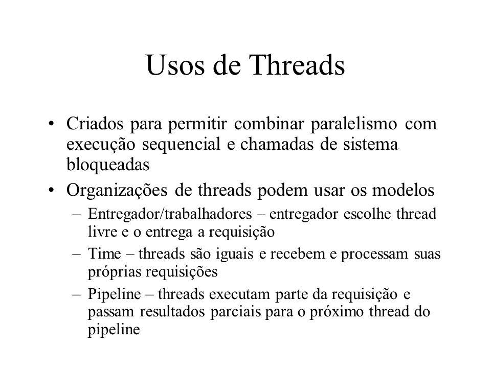 Usos de Threads Criados para permitir combinar paralelismo com execução sequencial e chamadas de sistema bloqueadas Organizações de threads podem usar