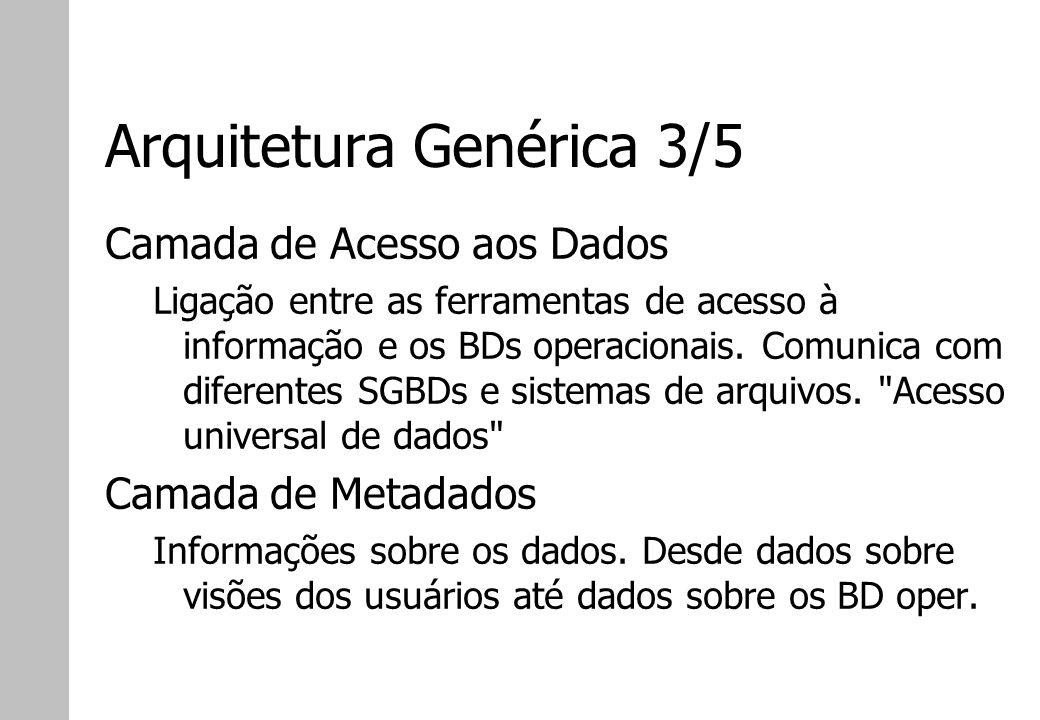 Arquitetura Genérica 3/5 Camada de Acesso aos Dados Ligação entre as ferramentas de acesso à informação e os BDs operacionais. Comunica com diferentes