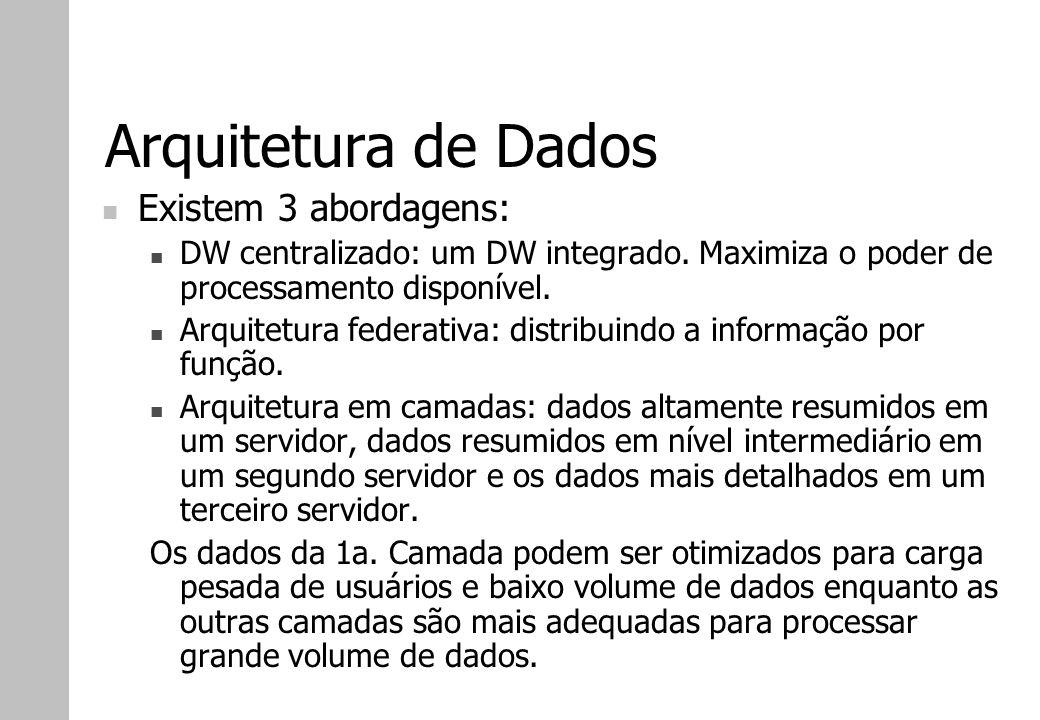 Arquitetura de Dados Existem 3 abordagens: DW centralizado: um DW integrado. Maximiza o poder de processamento disponível. Arquitetura federativa: dis