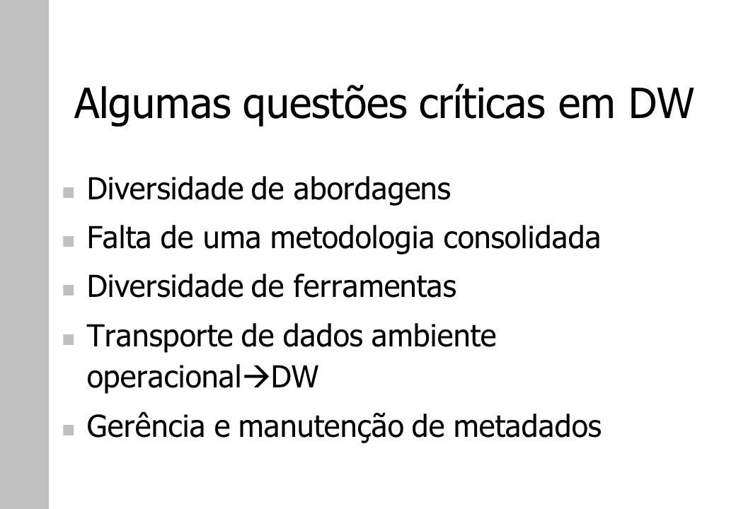 Algumas questões críticas em DW Diversidade de abordagens Falta de uma metodologia consolidada Diversidade de ferramentas Transporte de dados ambiente