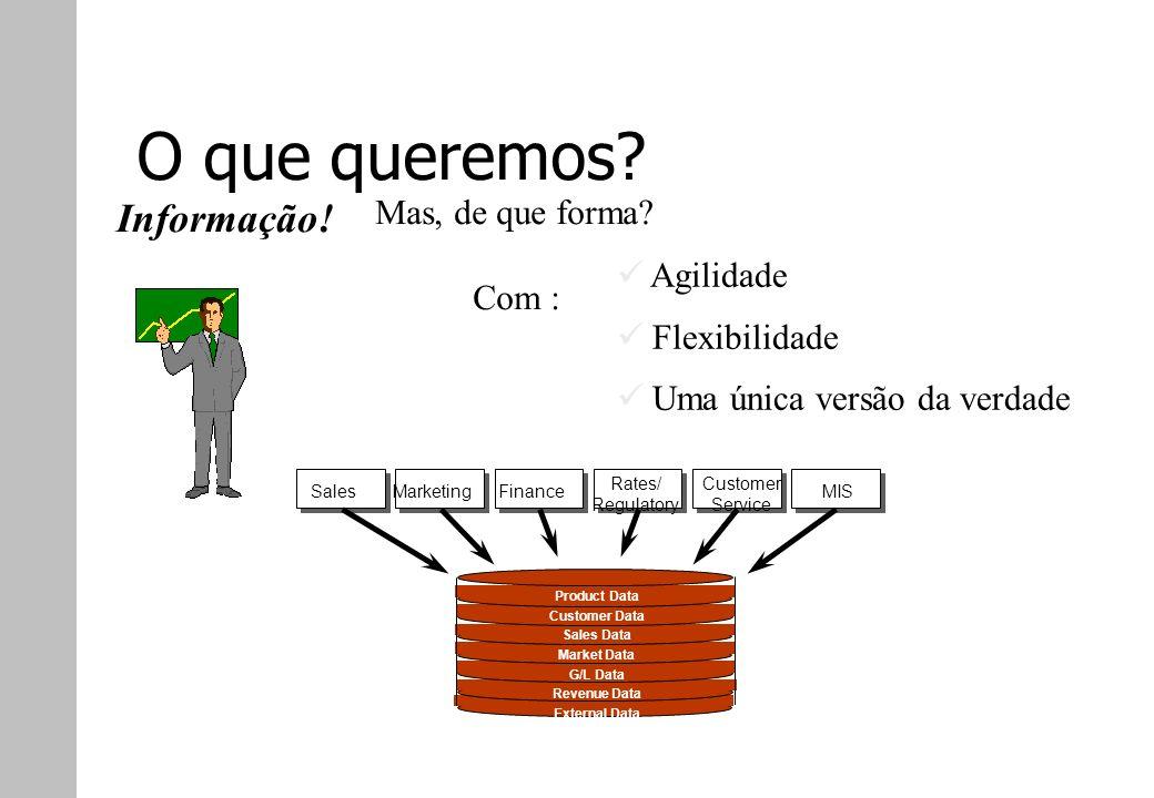O que queremos? Sales Marketing Finance Rates/ Regulatory Customer Service MIS Product Data Customer Data Sales Data Market Data G/L Data Revenue Data