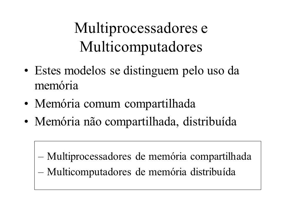 Multiprocessadores e Multicomputadores Estes modelos se distinguem pelo uso da memória Memória comum compartilhada Memória não compartilhada, distribuída –Multiprocessadores de memória compartilhada –Multicomputadores de memória distribuída