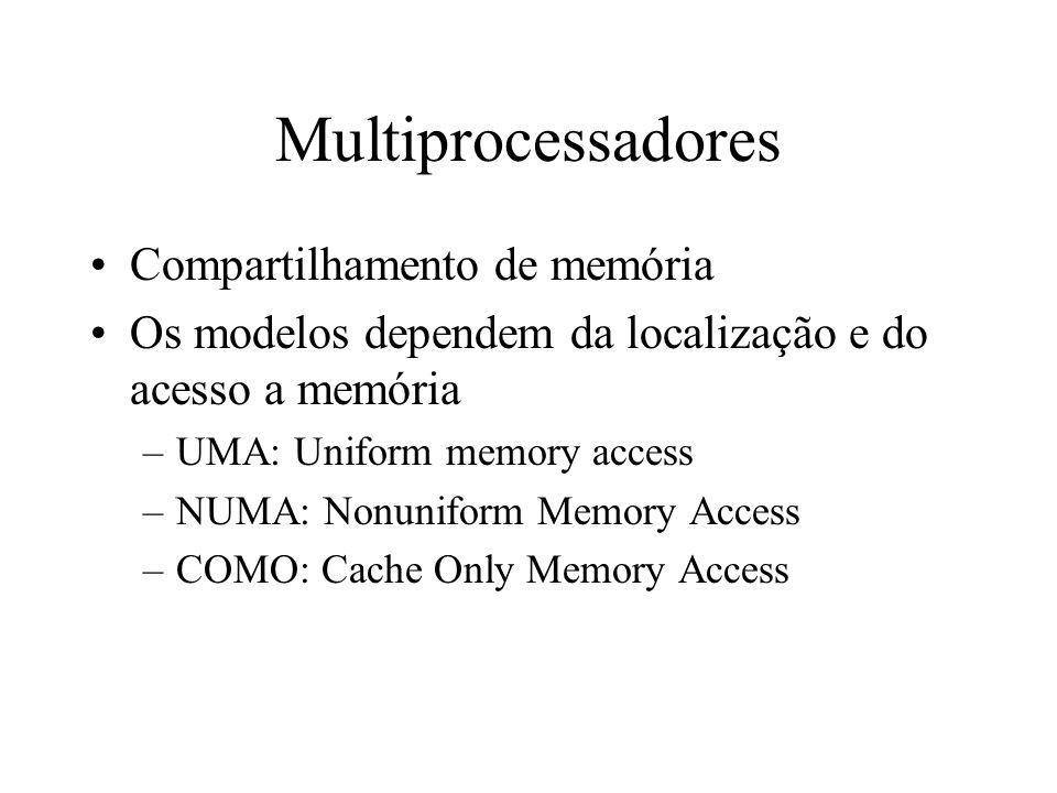 Multiprocessadores Compartilhamento de memória Os modelos dependem da localização e do acesso a memória –UMA: Uniform memory access –NUMA: Nonuniform Memory Access –COMO: Cache Only Memory Access