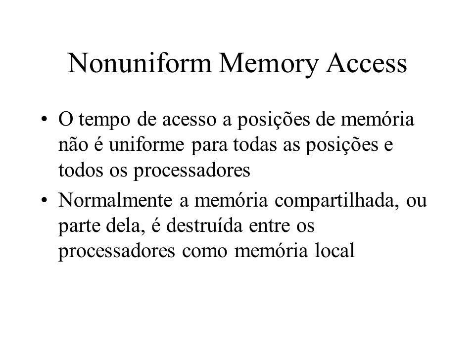 Nonuniform Memory Access O tempo de acesso a posições de memória não é uniforme para todas as posições e todos os processadores Normalmente a memória compartilhada, ou parte dela, é destruída entre os processadores como memória local