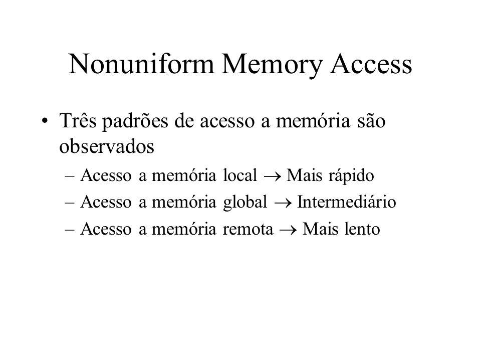 Nonuniform Memory Access Três padrões de acesso a memória são observados –Acesso a memória local Mais rápido –Acesso a memória global Intermediário –Acesso a memória remota Mais lento